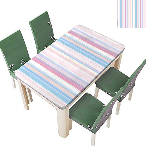Printed Fabric Tablecloth Lined Soft Pastel Straight Bands Line Stripes Geometric Print Light Pink Lilac Blue Washable Polyester 54 x 72 Inch (Elastic Edge)