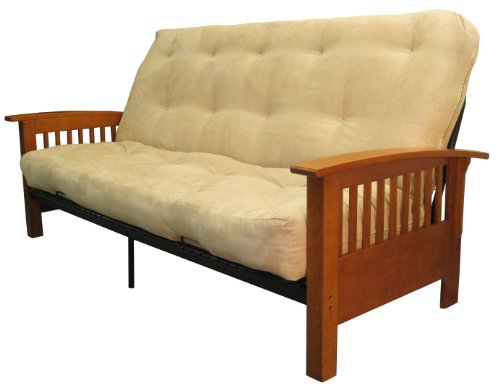 Brentwood Mission-Style 8-Inch Loft Inner Spring Futon Sofa Sleeper Bed, Full-size, Medium Oak Arm Finish, Microfiber Suede Khaki Upholstery - Oak Set Futon Frame