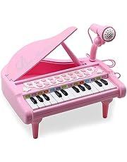 Amy&Benton Kinderpiano met Microfoon, 24 Keys Multifunctioneel Keyboard , Educatief Muzikaal Speelgoed, Verjaardagscadeau voor Meisje vanaf 1 2 3 Jaar