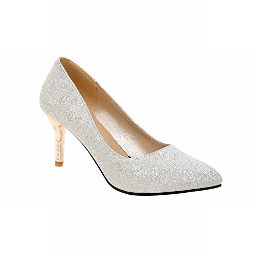 Latasa Womens Elegant Pointed-toe Stiletto High-heel Dress Pumps Shoes Silver CXIqZ