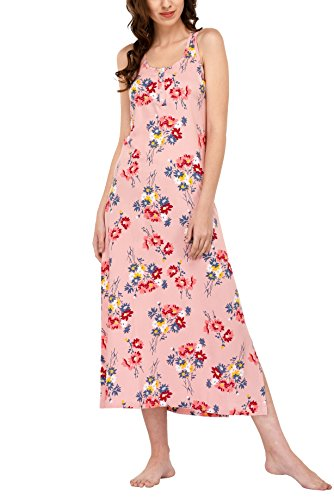 Vie De Rêve New York Women's Sleeveless Nightgown Maxi Dress Long Chemise Sleepwear/Pjs/Pajama (Pink Floral, L)