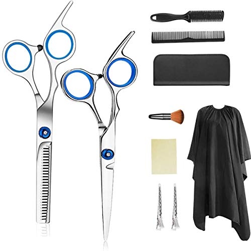 gracosy Hair Cutting Scissors Set, Hairdressing Scissors Hair Cutting Shears Set 9 Pcs Barber Stainless Steel Thinning…