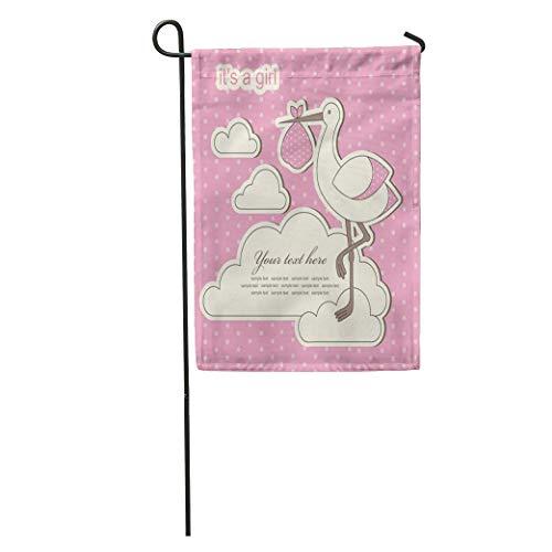 jiebokejiHFGD Garden Flag Pink Stork Baby Girl Announcement Birth Birthday Label Cute Vintage Home Yard House Decor Barnner Outdoor Stand 12x18 Inches Flag (Stork Announcement Girl Birth)