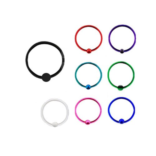 Plated Sterling Silver Nose Ring Hoop Captive Bead 1/4