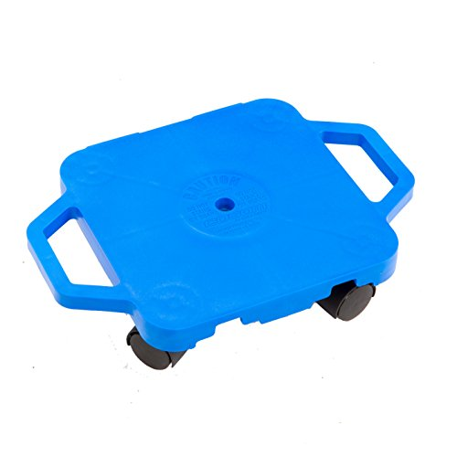 Cosom Scooter Board, 12 Inch Children's Sit & Scoot Board With 2 Inch Non-Marring Nylon Casters & Safety Guards for Physical Education Class, Sliding Boards with Safety Handles, Blue by Cramer