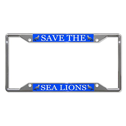 Sign Destination Metal License Plate Frame 4 Holes Save The Sea Lions Animal Car Auto Tag Holder - Chrome, Set of 2 (Sea Animal License Plate Frame)