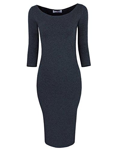 Tom's Ware Womens Classic Slim Fit Bodycon Dress TWFR049-D059-CHARCOAL-US XXL