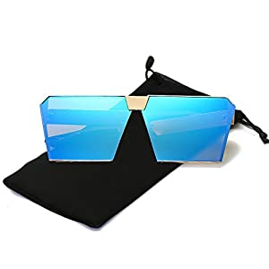 Mens Womens Oversized Square Sunglasses Metal Frame Flat Top Mirrored Sunglasses (Gold, Blue)
