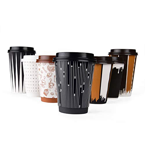#1 Modern Disposable Coffee Cups with Lids and Stirrers (50 pack) - 12 oz Double Wall Insulated Hot Paper Cups with Accessories - Stylish Beverage Cups for Hot Cold Drinks (Paddle Art Design, 12 oz)