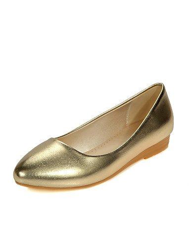 PDX/ Damenschuhe - Ballerinas - Lässig - Kunstleder - Flacher Absatz - Komfort / Rundeschuh - Silber / Gold golden-us6 / eu36 / uk4 / cn36