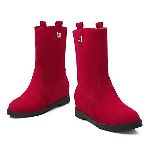 Round Blend AgooLar rivet Women's Red Boots Closed Materials Toe wUBHPqZ