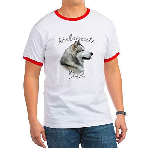 CafePress Malamute Dad2 Ringer T-Shirt, 100% Cotton Ringed T-Shirt, Vintage Shirt Red/White