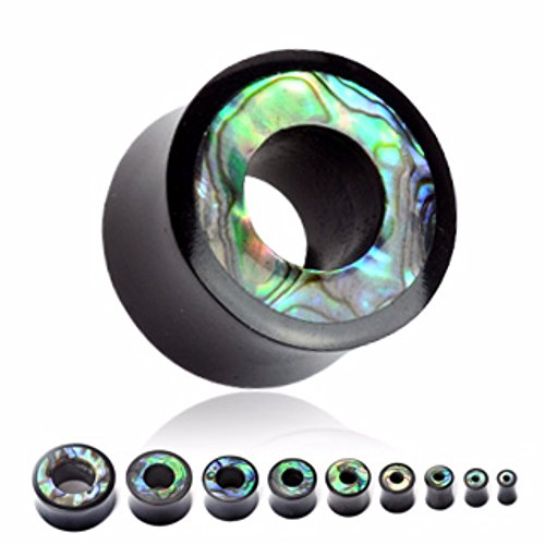 Abalone Inlay Organic Horn Saddle Fit Freedom Fashion Tunnel Plug (Sold by Pair) (Tunnel Saddle Horn)