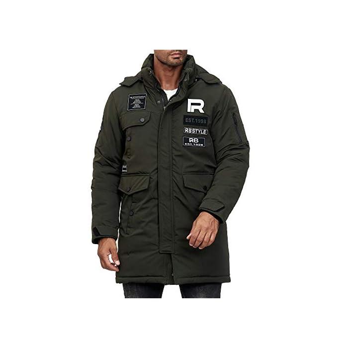 419Wll2StjL Abrigo   Parka de invierno para hombres de la marca Redbridge Chaqueta de invierno cálida y moderna con capucha extraíble y muchos bolsillos prácticos 100% Poliéster