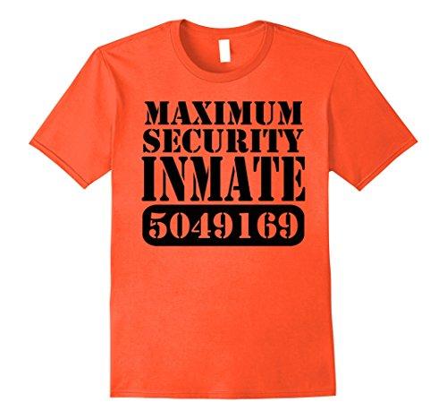 [Mens Maximum Security Inmate Halloween Costume Party Fun T-shirt 3XL Orange] (Fun Halloween Costumes For Best Friends)