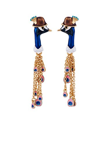 N2 by Les Nrides Kind and Happy Face of Leon The Peacock and Feathers Charms Earrings - Blue