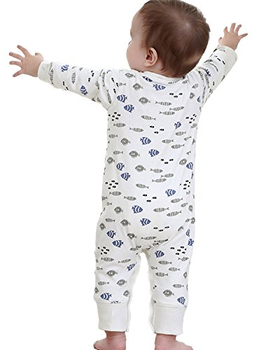 Kidsform Infant Baby Boys Cotton Print Thicken Romper Jumpsuit Overalls Footless Outfits White 12-18M
