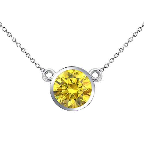 (0.50 Carat Fancy Yellow Diamond By The Yard Bezel Solitaire Pendant Necklace + 18