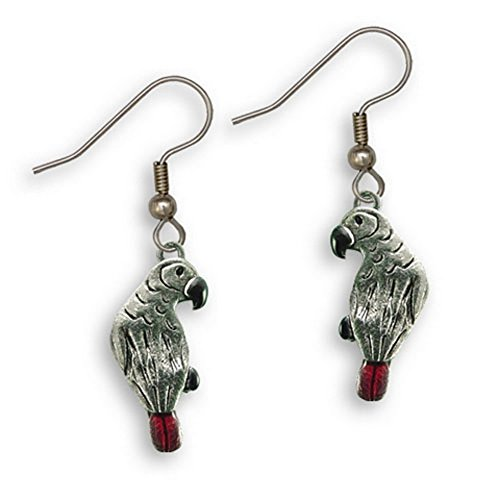 Enamel African Grey Parrot Earrings by The Magic Zoo