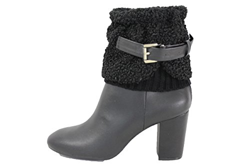 East Indian Halloween Costumes (TFJ Women Fashion Boot Toppers Booties Slip Ons Black Knit Fabric Faux leather Belt Strap)