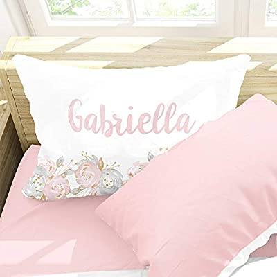 Personalized Shabby Chic Floral Girls Pillow Case, Pink and Gray, Custom Name Kids Gift, Standard 20 x 30 inch Pillow Cover: Home & Kitchen