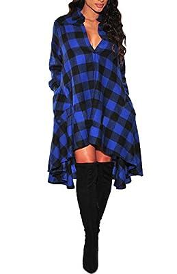 ZIHAO Women Long Sleeve Plaids Irregular Hem Casual Shirt Dress Coat