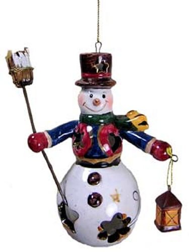 Porcelain Ornament Snowman Holding a Broom and a Lantern [3237503B] (Northstar Ornament)