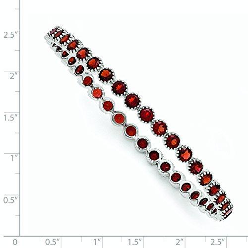 5mm en Argent Sterling 925plaqué rhodium grenat rond bracelet jonc antidérapant