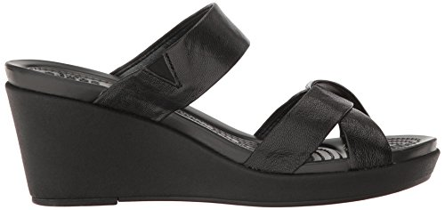 crocs Women's leighann Leather Wedge Sandal, Black/Black, 7 M US by Crocs (Image #7)