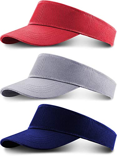 3 Pieces Tooddler Cotton Sun Visor Caps Children Adjustable Sports Sun Hats for Kids (Color 2)]()