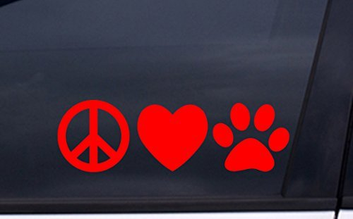 focenterprises-peace-love-dog-paw-vinyl-decal-3x7-red-rescue-pound-puppy-sticker