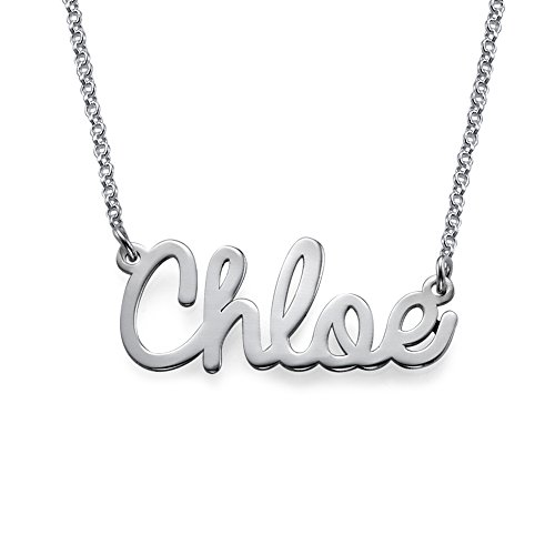 - Personalized Name Necklace Cursive Font Sterling Silver-Necklace w/Name Pendant Custom Made Jewelry