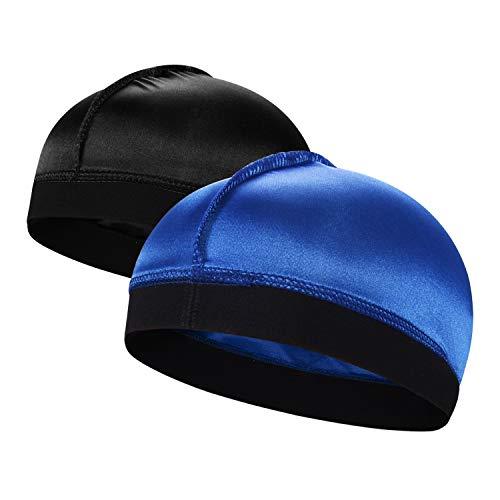2PCS Silky Stocking Wave Cap for Men, Good Compression Over Durag,Group B (Men Stocking Cap)