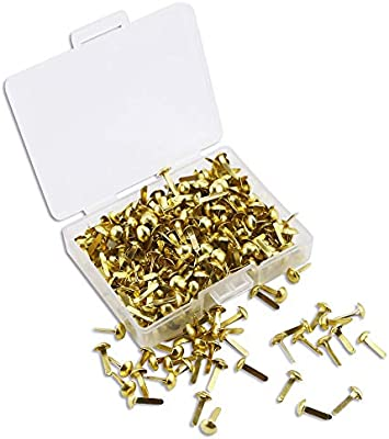 Gold and Silver Wpxmer 600 Pcs Mini Brads Round Paper Fasteners Brass Pastel Metal Brads with Storage Box for Scrapbooking Crafts DIY Paper