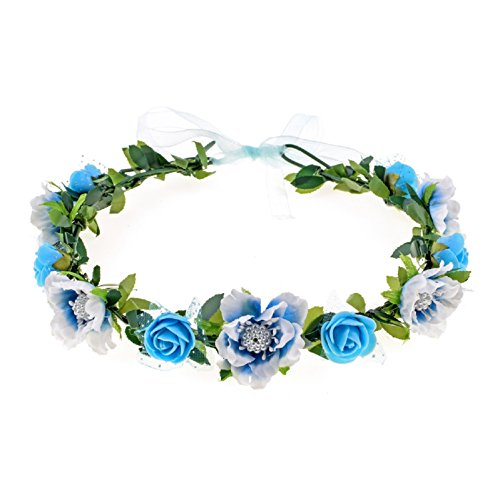 Blue Flower Rose (Love Sweety Girls Boho Rose Floral Crown Wreath Wedding Flower Headband Headpiece (Blue))
