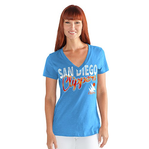 (GIII For Her NBA San Diego Clippers Women's 1St Down V-Neck Tee, X-Large, Blue)