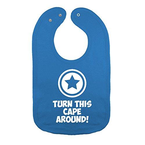 Mashed Clothing Unisex-Baby Super Hero Shield Turn This Cape Around Cotton Baby Bib (Cobalt) (Baby Super Hero)