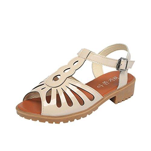 bescita Mode Frauen Ausschnitte Sandalen Zehenkappe Low Keile Hohlen Sommerschuhe (39, Beige)