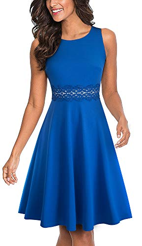 HOMEYEE Women's Sleeveless Cocktail A-Line Embroidery Party Summer Wedding Guest Dress A079(4,Blue)