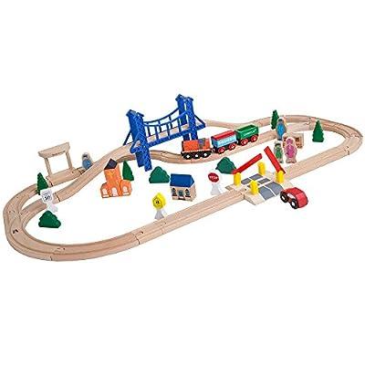 Orbrium Toys 52 Pcs Deluxe Wooden Train Set with 3 Destinations Fits Thomas, Brio, Chuggington, Melissa and Doug, Imaginarium Wooden Train by Orbrium Toys