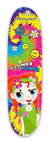 TITAN Flower Power Princess Pink Girls Skateboard, Single Kick-board, 24'' Maple Skateboard