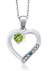 0.32 Ct Round Green Peridot Blue Diamond 925 Sterling Silver Pendant