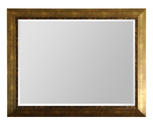 Raphael Rozen Beveled Wall Mounted Mirror, Framed, Antique Gold