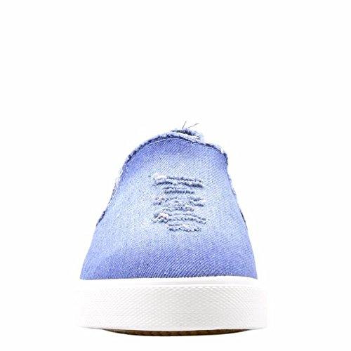 Via Pinky Collectie Womens Ontstressen Denim Patches / Borduursels Op / Fashion Sneakers Denim / Lichtblauw / Bloemen