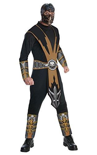 Halloween Costumes Mortal Kombat (Mortal Kombat Adult Scorpion Costume And Mask, Gold/Black, Large)