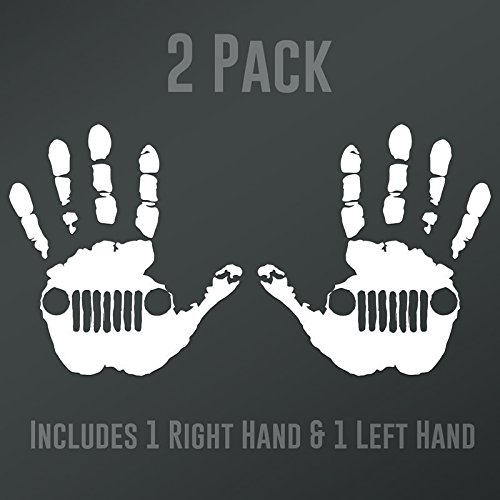 DD901 2-Pack Jeep Wave (1 Right, 1 Left Handed) Decal Sticker | 5.5-Inches Wide | Premium Quality White Vinyl Decal