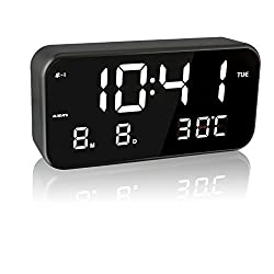EAAGD 8.26inch×3.93inch Large Screen LED Digital Music Alarm Clock - Multifunctional With Date Display, Temperature Display, Automatic Brightness Adjustment, 3 Gears Volume Adjustable (Black/White)
