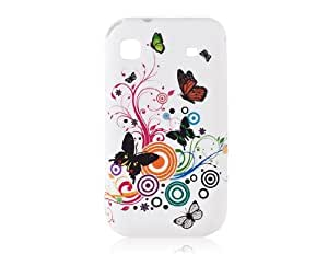 Conseguir Mariposa de plástico y el diseño floral de cara abierta Funda para Samsung i9000