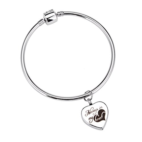 SG Stainless Steel Always in My Heart Pendant Urn Bracelet Cremation Jewelry Memorial Ashes Keepsake