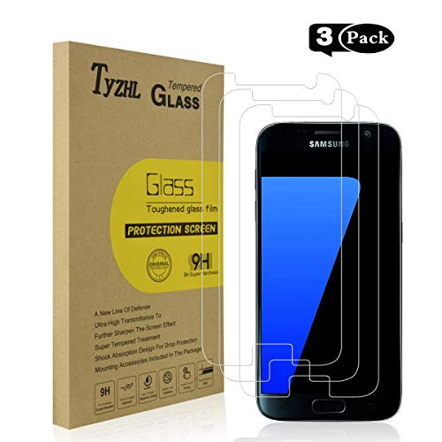 TyZHL [3 Pack] for Samsung Galaxy S7/Galaxy S6 Tempered Glass Screen Protector [9H Hardness] [Anti-Scratch] [No Bubbles], NOT for Galaxy S7 Edge/S6 Edge/S6 Active (What's The Best Screen Protector For Galaxy S6 Edge)